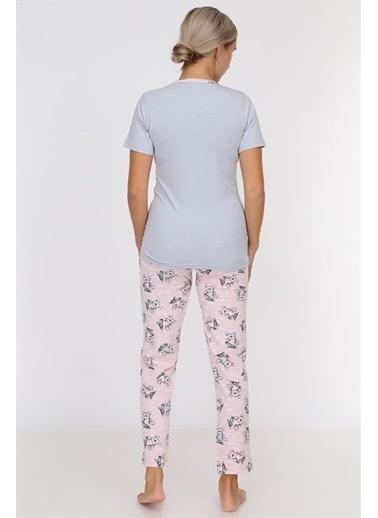 Obje Love Yazılı Kadın Pijama Takımı Gri